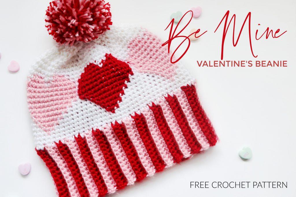 Heart Beanie c2c Crochet Pattern Valentines Day Crochet Patterns Crochet Beanie Pattern Crochet Heart Pattern Crochet Hat Pattern